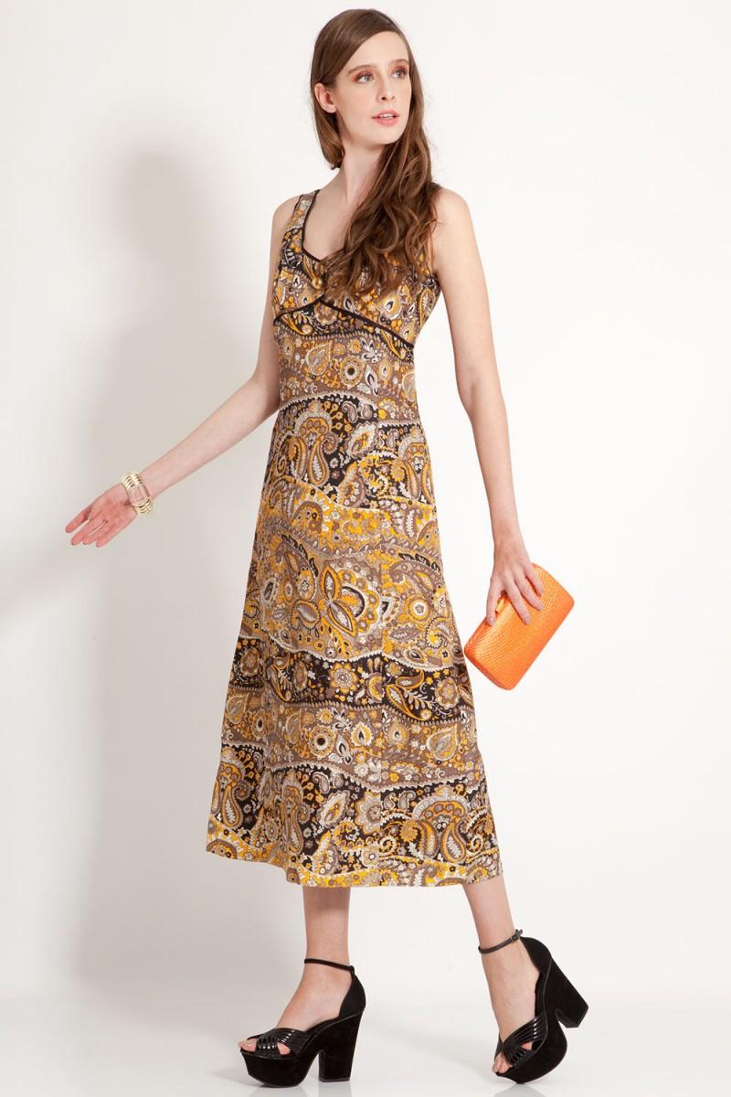 Vestido Vintage Luxo Oriental